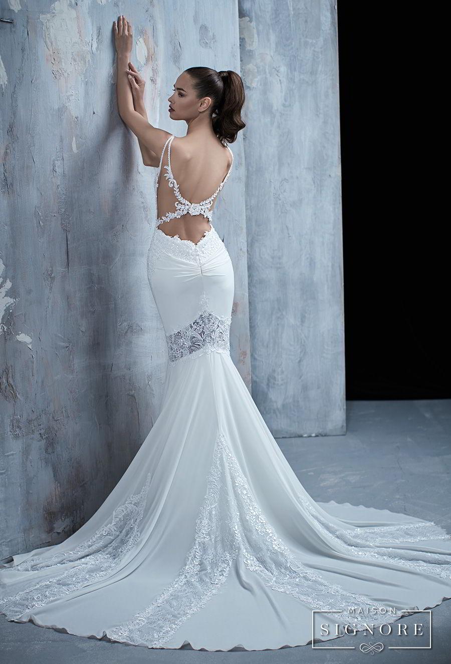 maison signore 2017 bridal sleeveless mermaid wedding dress open back chapel train (thalia) bv mv