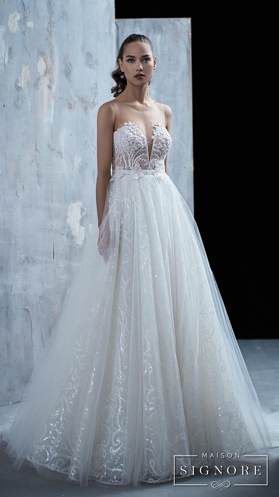 maison signore 2017 bridal strapless deep plunging sweetheart neckline romantic a  line wedding dress (tatum) mv