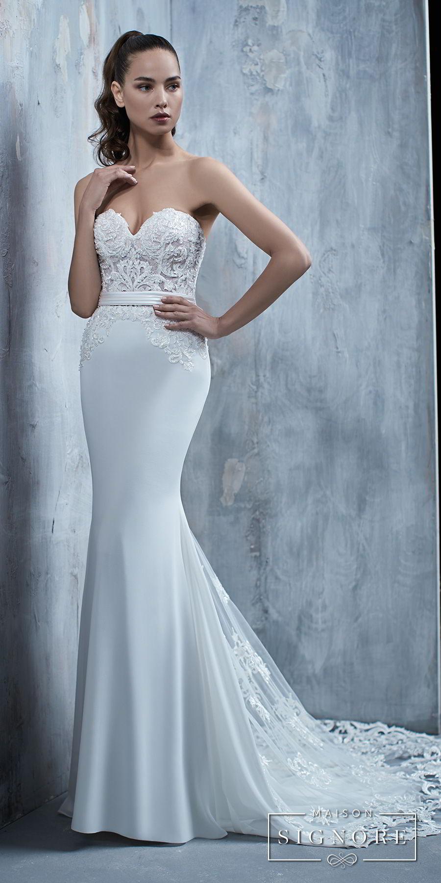 maison signore 2017 bridal strapless sweetheart neckline heavily embellished bodice elegant fit and flare sheath wedding dress chapel train (tullia) mv