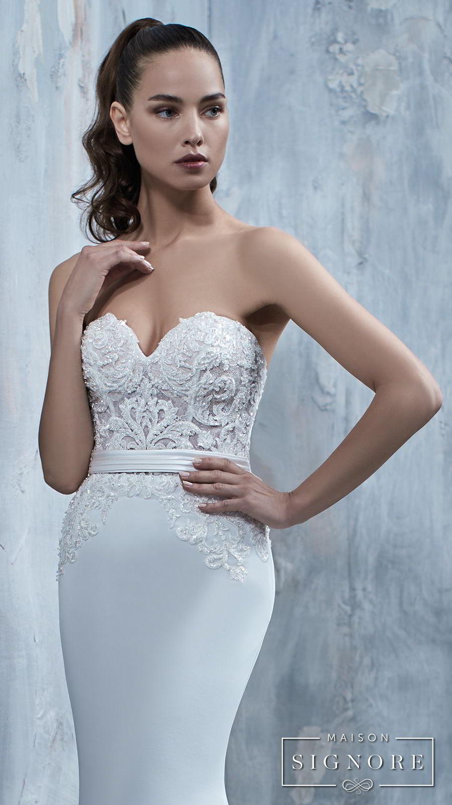 maison signore 2017 bridal strapless sweetheart neckline heavily embellished bodice elegant fit and flare sheath wedding dress chapel train (tullia) zv