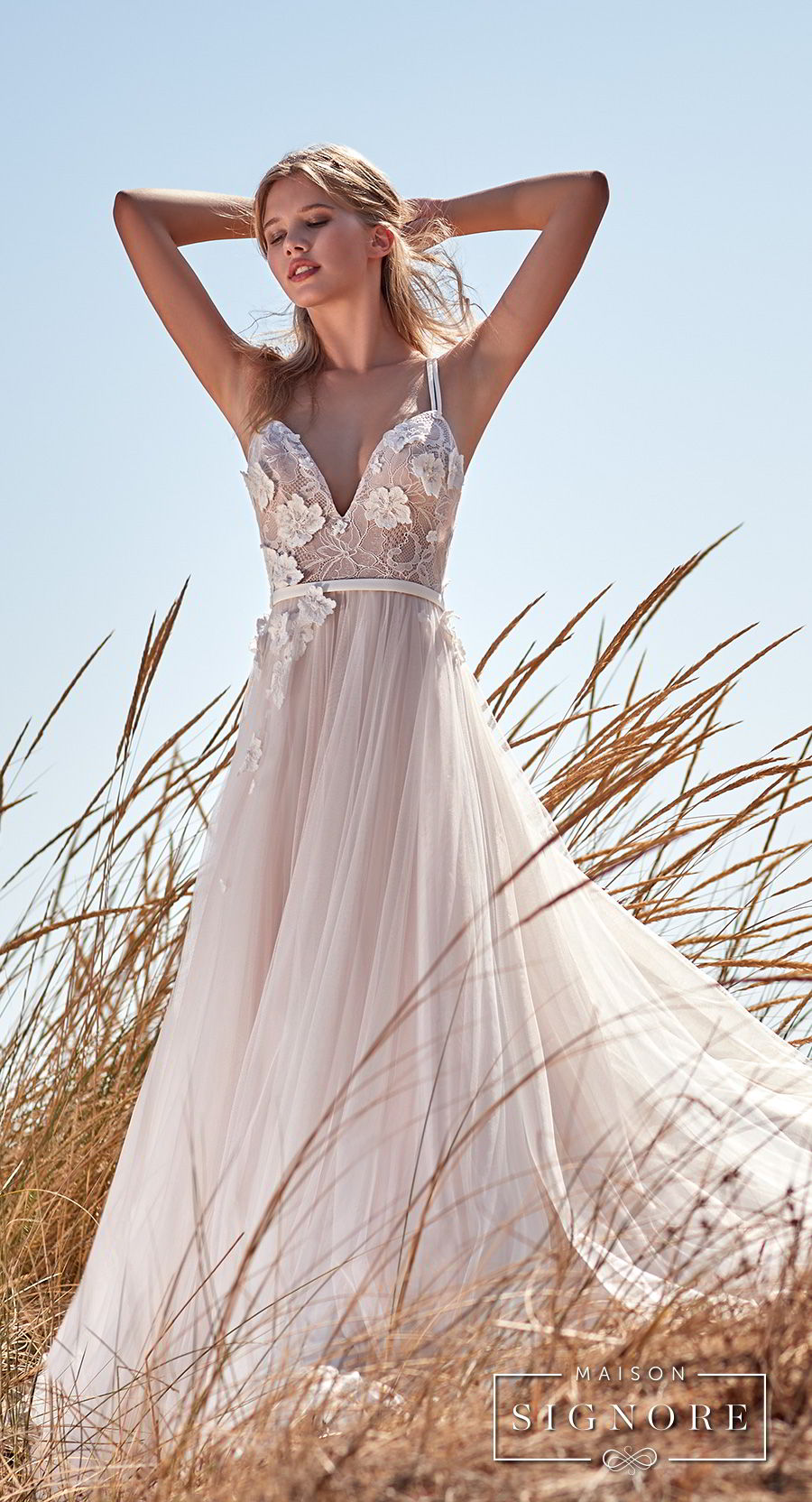 maison signore 2017 bridal thin strap sweetheart neckline heavily embellished bodice tulle skirt romantic a  line wedding dress chapel train (caroline) mv