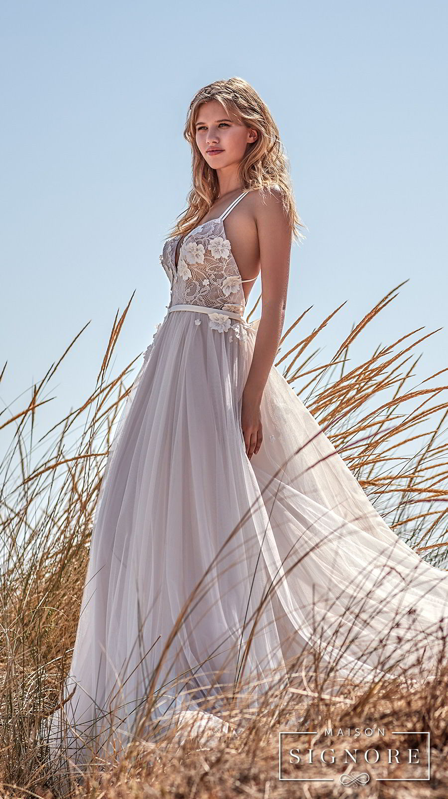 maison signore 2017 bridal thin strap sweetheart neckline heavily embellished bodice tulle skirt romantic a  line wedding dress chapel train (caroline) sdv