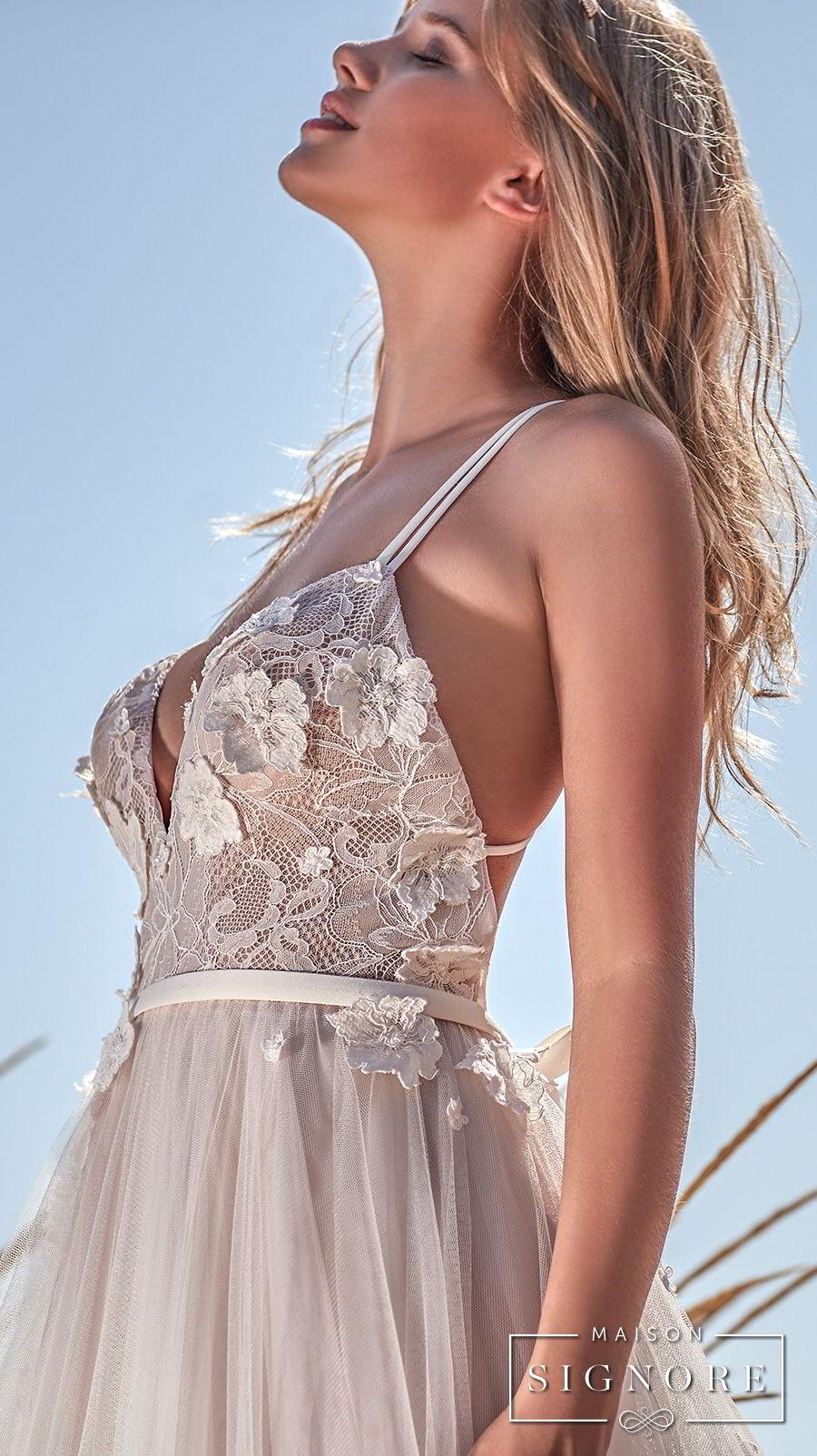maison signore 2017 bridal thin strap sweetheart neckline heavily embellished bodice tulle skirt romantic a  line wedding dress chapel train (caroline) zsdv