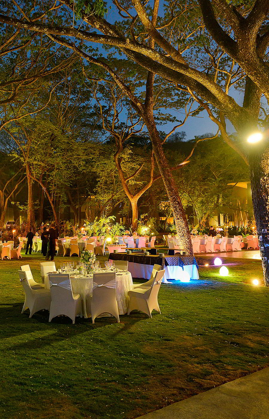 marriott el mangroove guanacaste costa rica honeymoon destination wedding venue wedding outdoor table setting night mangrove trees