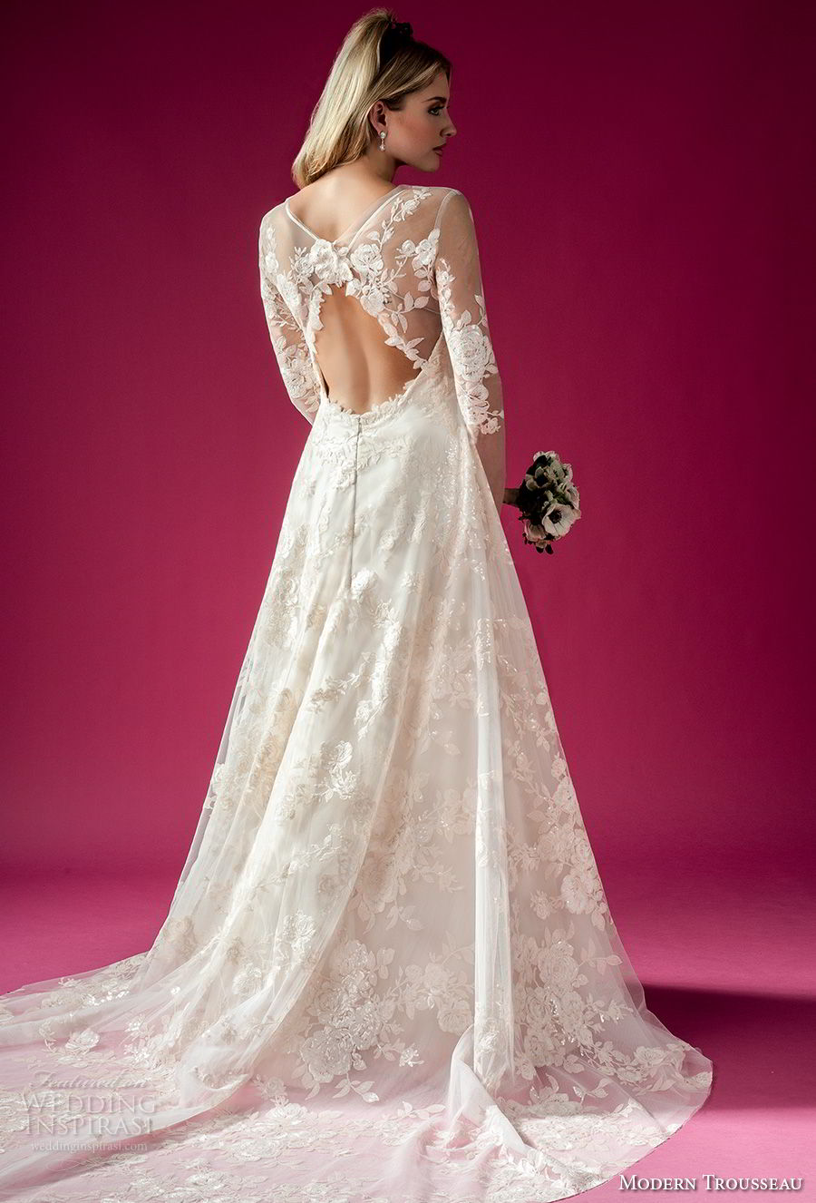 modern trousseau fall 2018 bridal long sleeves illusion bateau sweetheart neckline full embellishment elegant a line wedding dress keyhole back chapel train (wynn jacket) bv