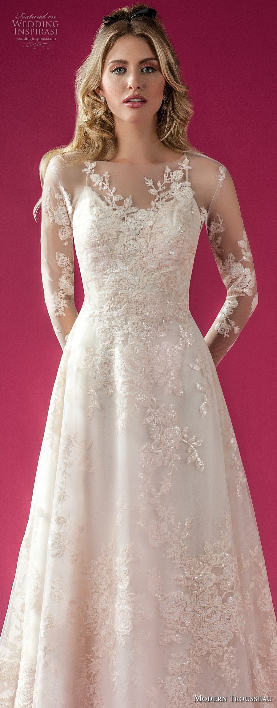 modern trousseau fall 2018 bridal long sleeves illusion bateau sweetheart neckline full embellishment elegant a line wedding dress keyhole back chapel train (wynn jacket) lv