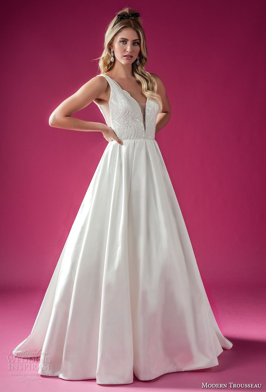 modern trousseau fall 2018 bridal sleeveless deep v neck heavily embellished bodice romantic a line wedding dress sweep train (bently) mv