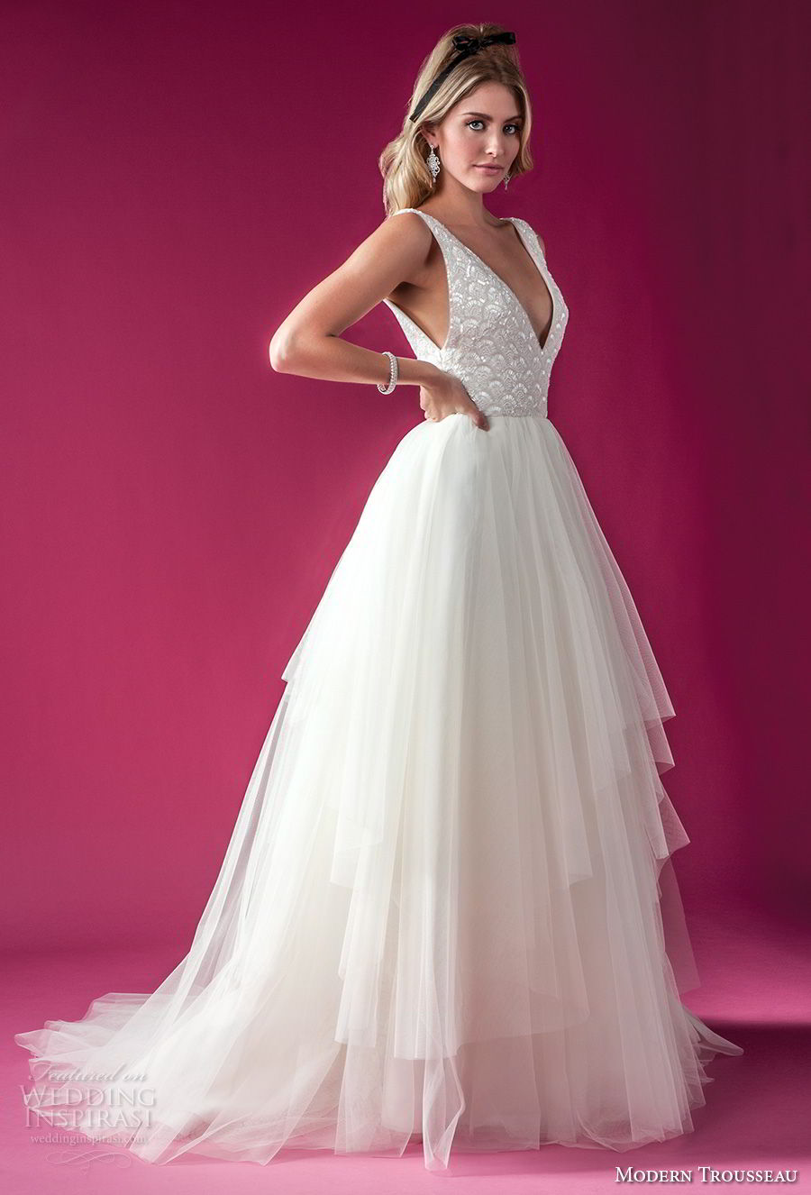 modern trousseau fall 2018 bridal sleeveless deep v neck heavily embellished bodice tulle skirt romantic a line wedding dress chapel train (jett) mv