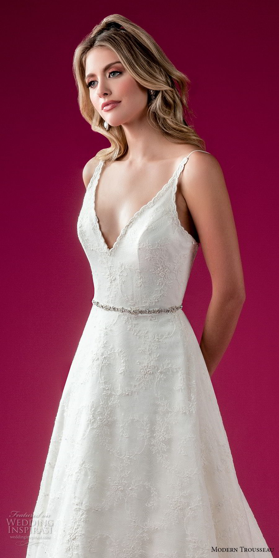 modern trousseau fall 2018 bridal sleeveless deep v neck light embellishment elegant a line wedding dress chapel train (viola) zv