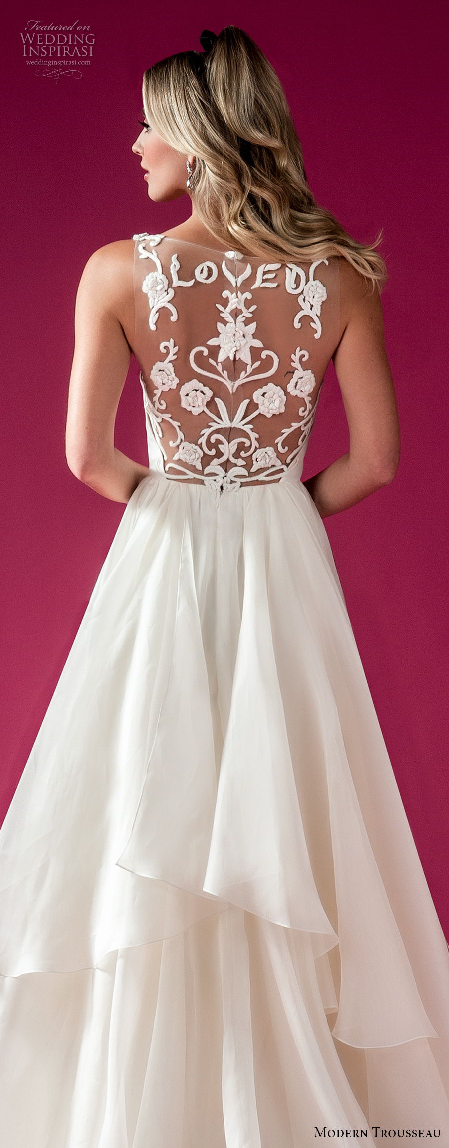 modern trousseau fall 2018 bridal sleeveless illusion v neck sweetheart neckline heavily embellished bodice romantic a line wedding dress sheer lace back chapel train (loved) zv