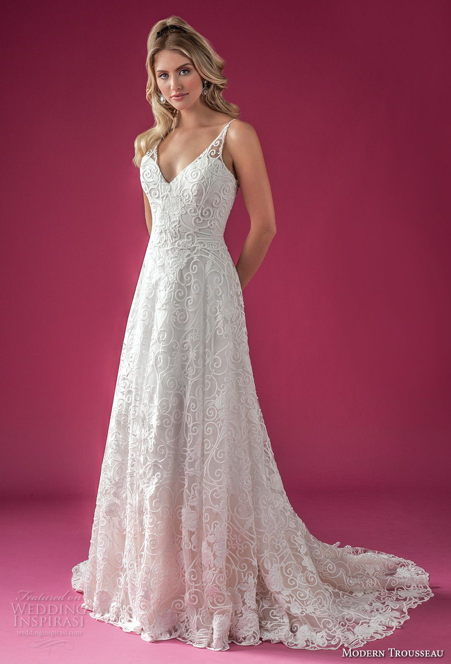 modern trousseau fall 2018 bridal sleeveless with strap v neck full embellishment elegant romantic a line wedding dress medium train (chandler) mv