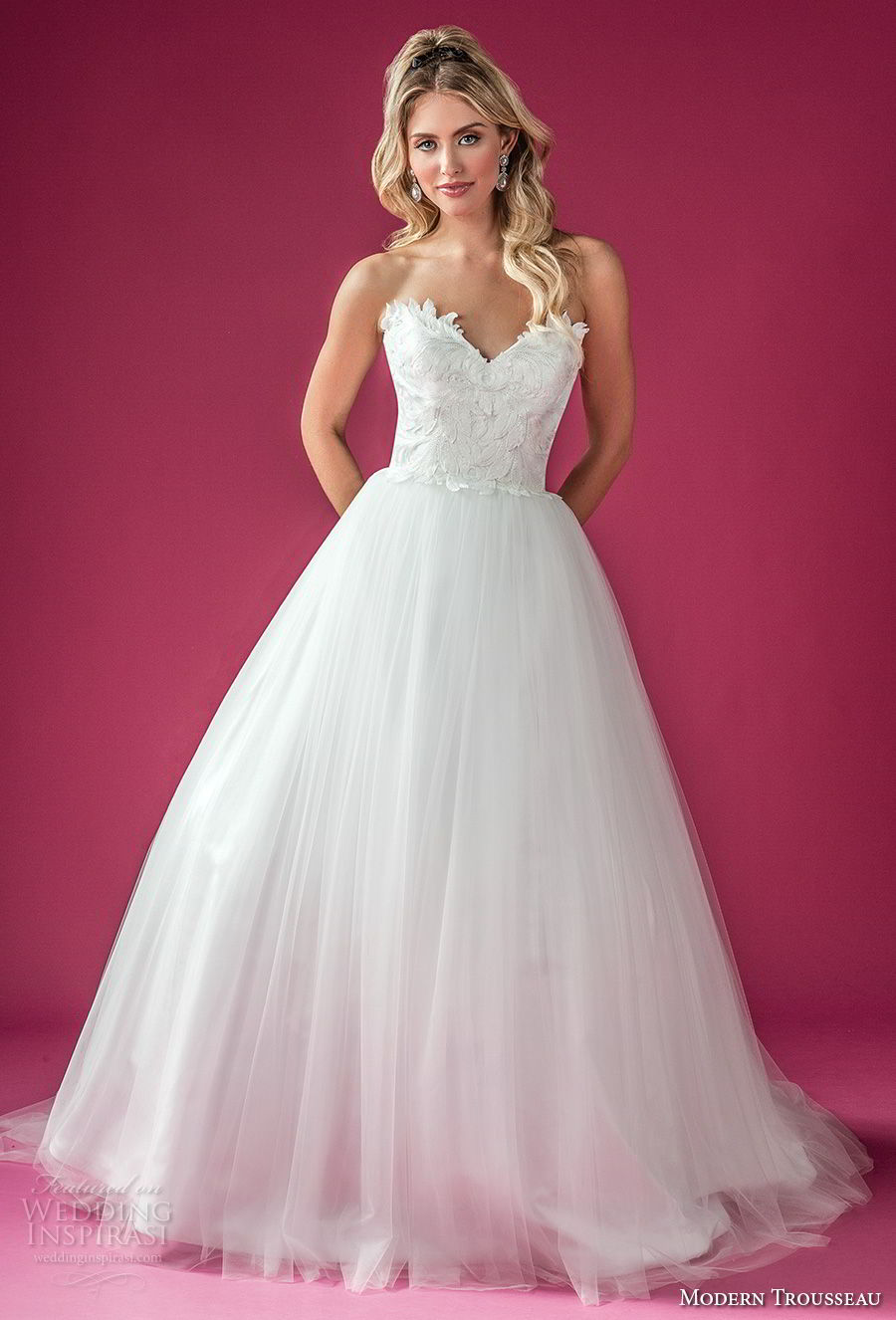 modern trousseau fall 2018 bridal strapless sweetheart neckline heavily embellished bodice tulle skirt romantic classic a line wedding dress chapel train (symphony) mv