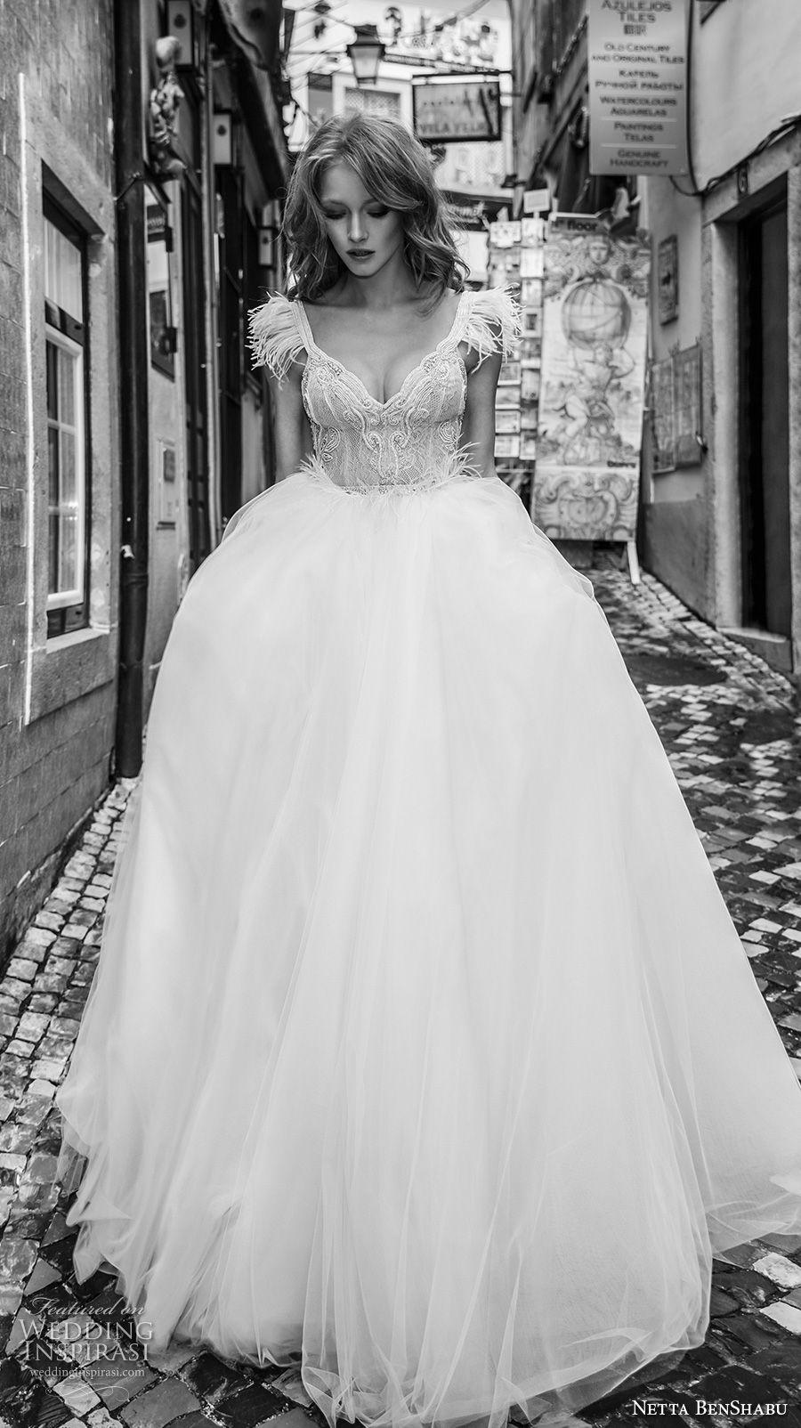 netta benshabu 2017 bridal cap sleeves sweetheart neckline heavily embellished bodice princess ball gown wedding dress open back chapel train (19) mv