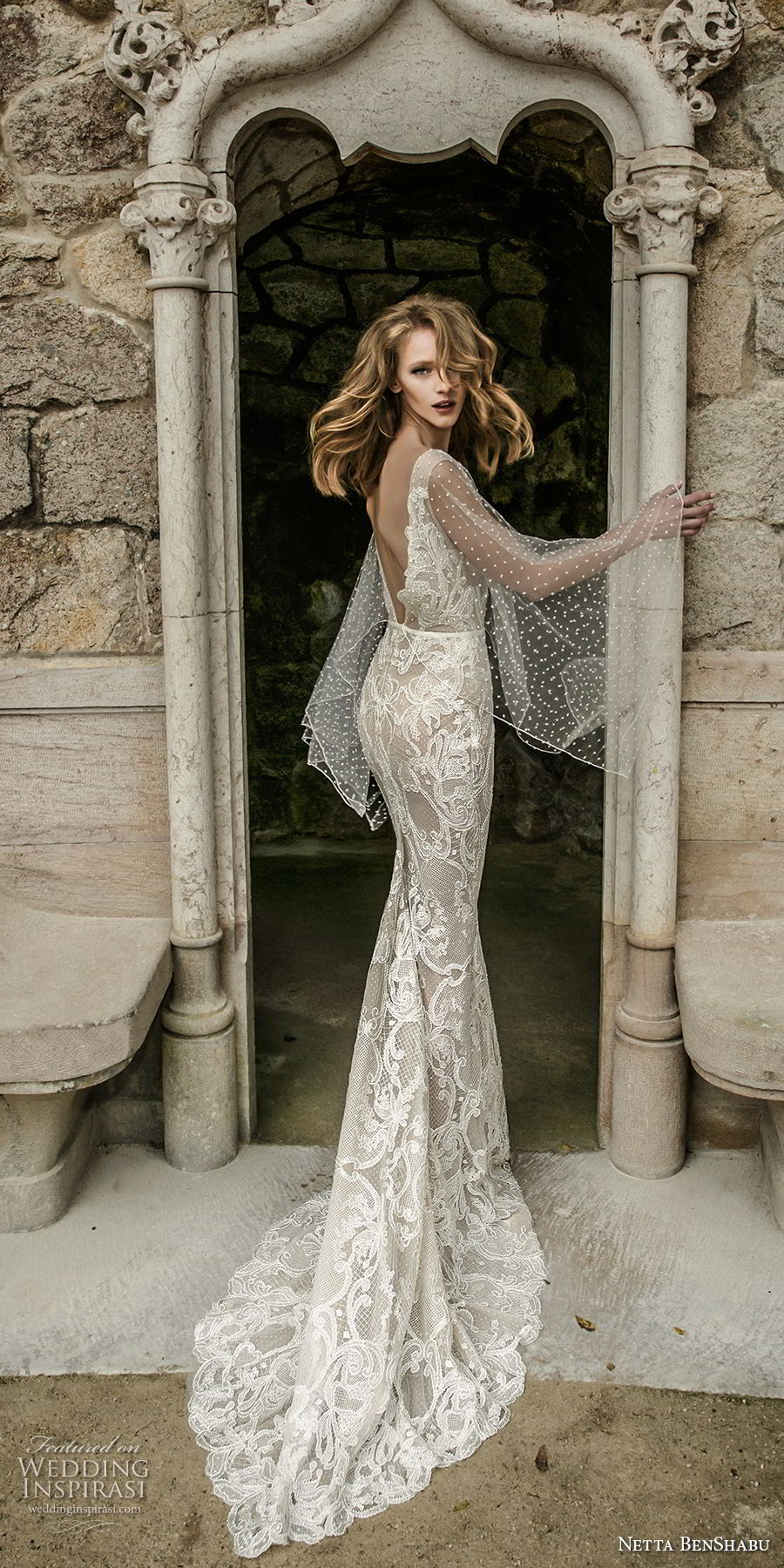 netta benshabu 2017 bridal long angle sleeves neck full embellishment elegant sheath wedding dress open v back sweep train (10) bv