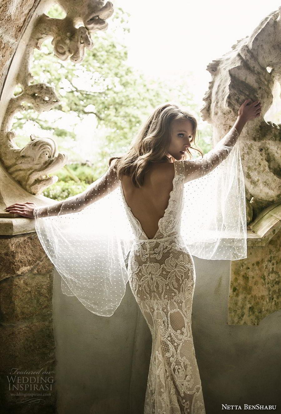 netta benshabu 2017 bridal long angle sleeves neck full embellishment elegant sheath wedding dress open v back sweep train (10) zbv