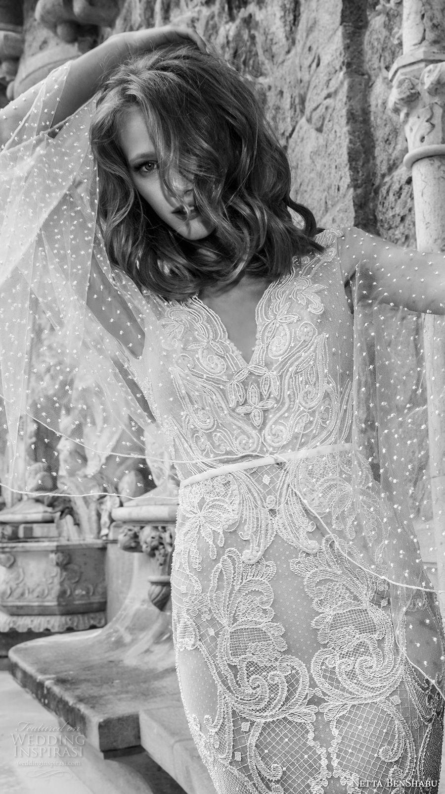 netta benshabu 2017 bridal long angle sleeves neck full embellishment elegant sheath wedding dress open v back sweep train (10) zv