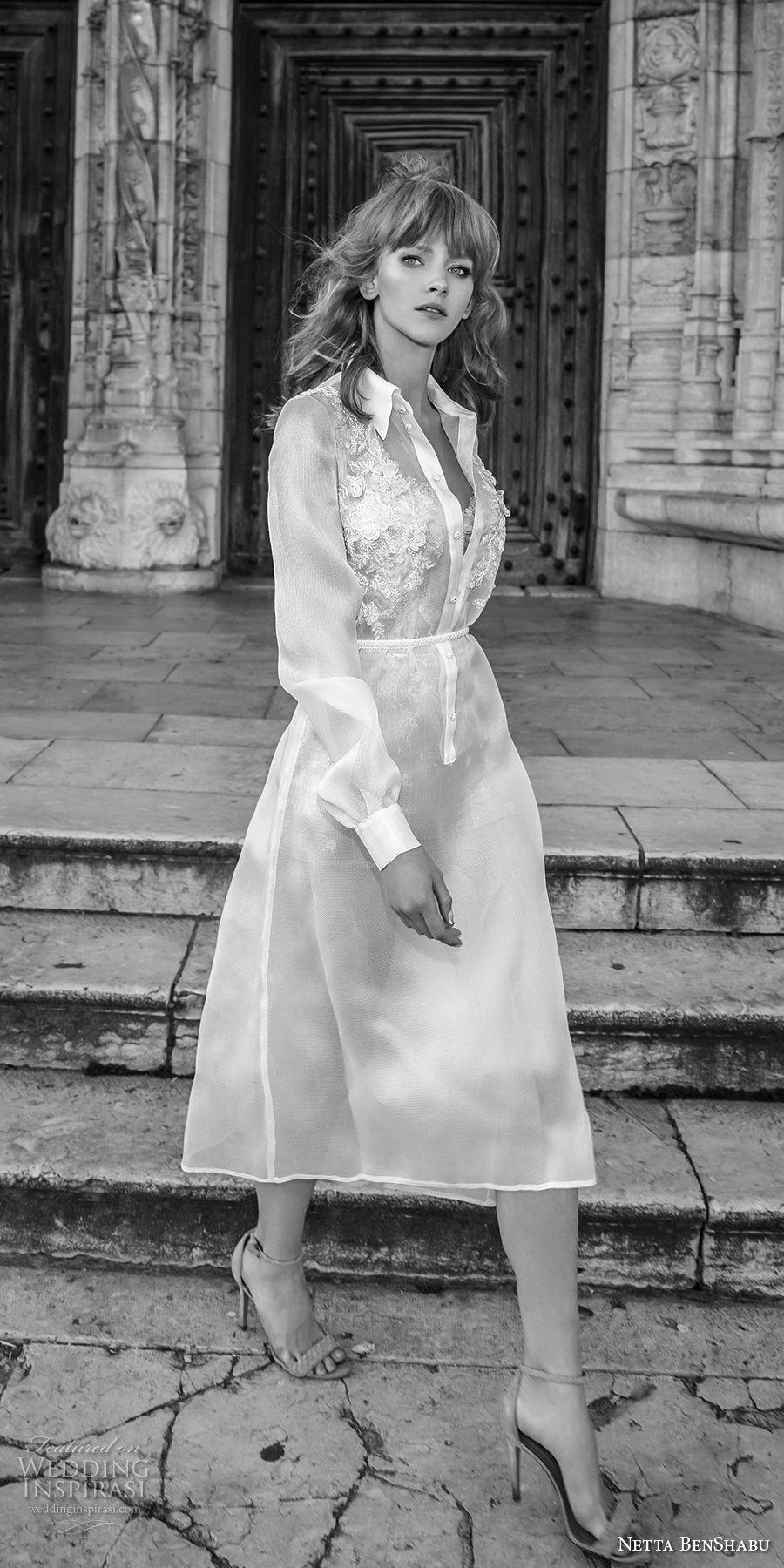 netta benshabu 2017 bridal long sleeves collar heavily embellished chic shirt dress short below the knee wedding dress (29) mv