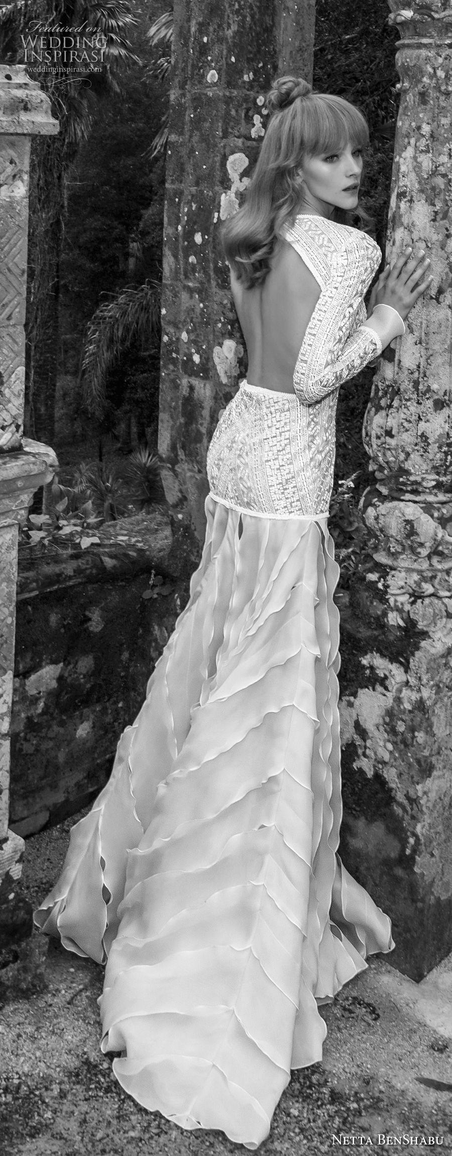 netta benshabu 2017 bridal long sleeves deep v neck heaving embellished bodice drop waist ruffled skirt keyhole back sweep train (12) bv