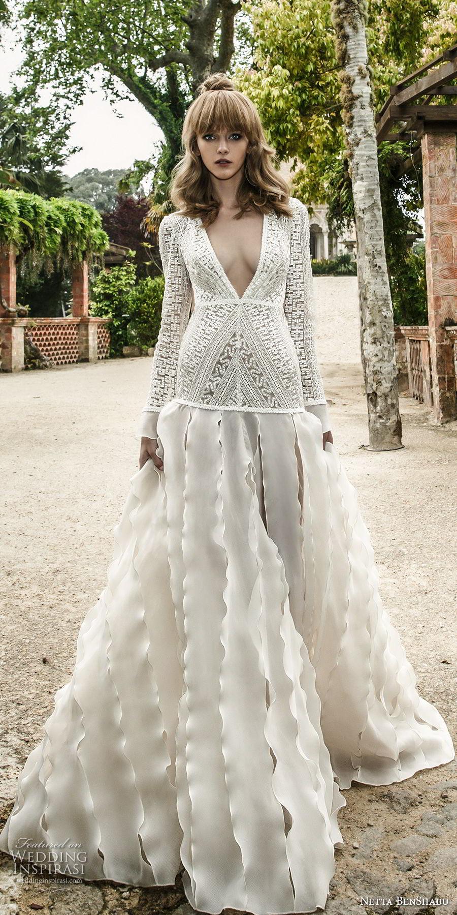 netta benshabu 2017 bridal long sleeves deep v neck heaving embellished bodice drop waist ruffled skirt keyhole back sweep train (12) mv