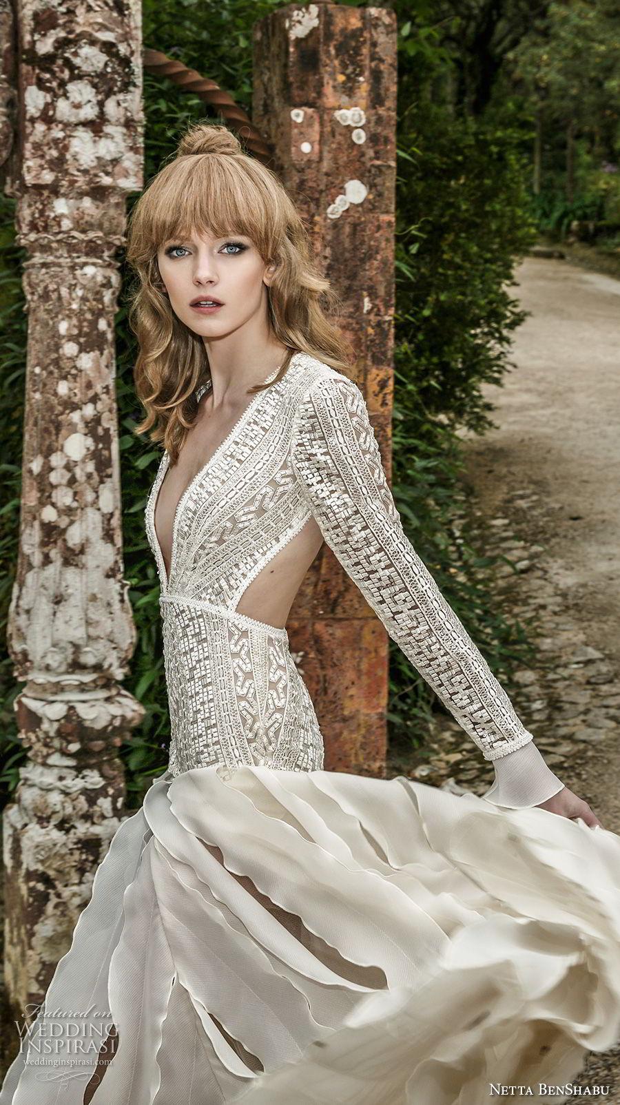 netta benshabu 2017 bridal long sleeves deep v neck heaving embellished bodice drop waist ruffled skirt keyhole back sweep train (12) zv