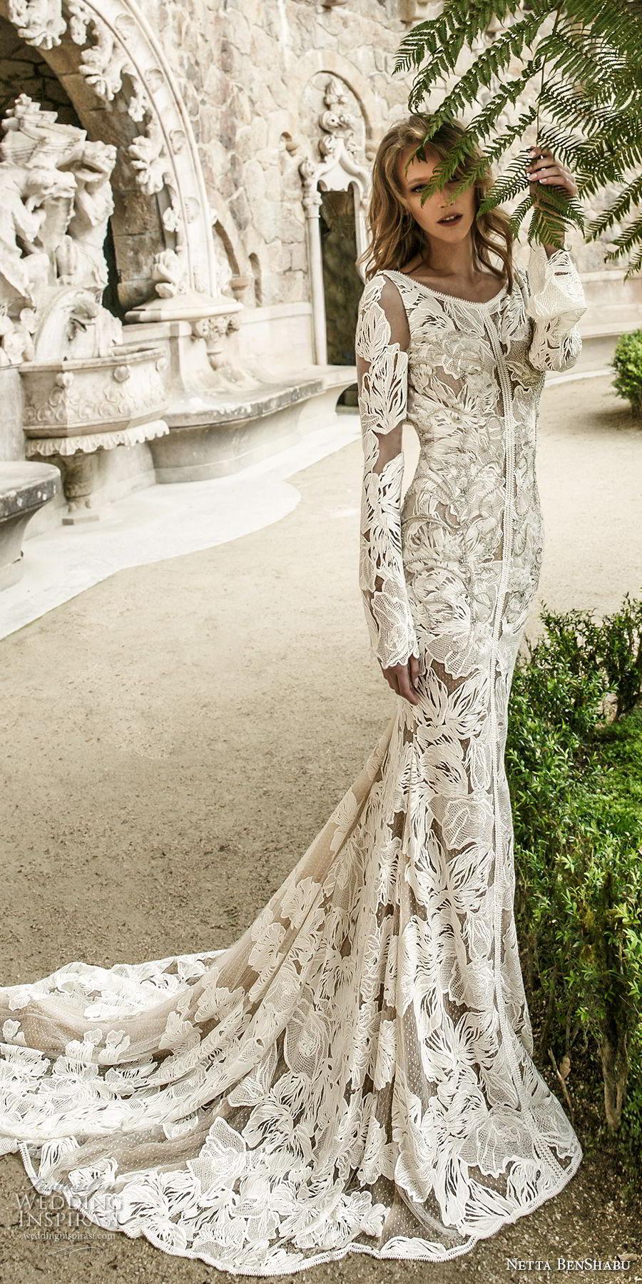 netta benshabu 2017 bridal long sleeves jewel nick full embellishment elegant fit and flare wedding dress open v back chapel train (11) mv