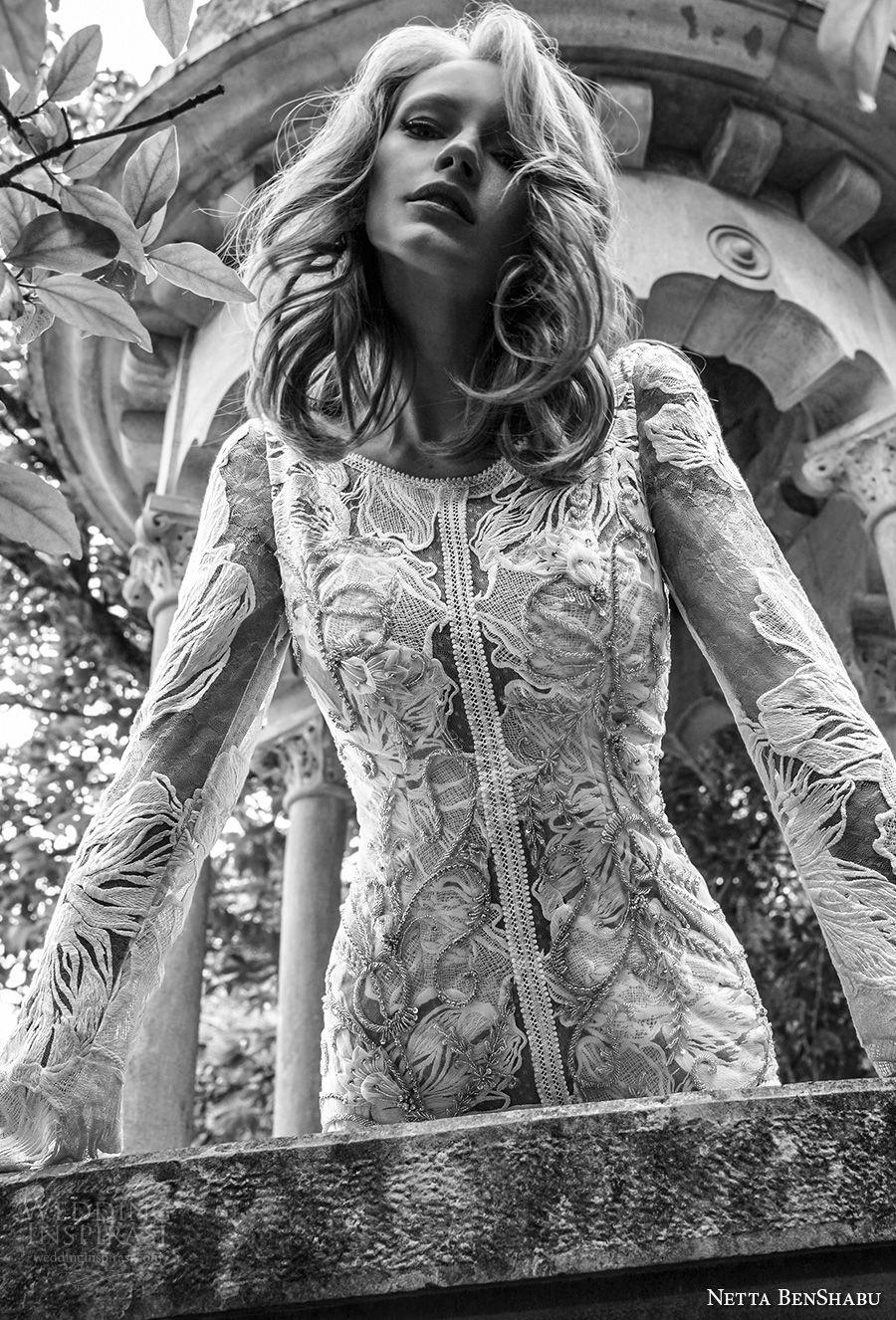 netta benshabu 2017 bridal long sleeves jewel nick full embellishment elegant fit and flare wedding dress open v back chapel train (11) zv