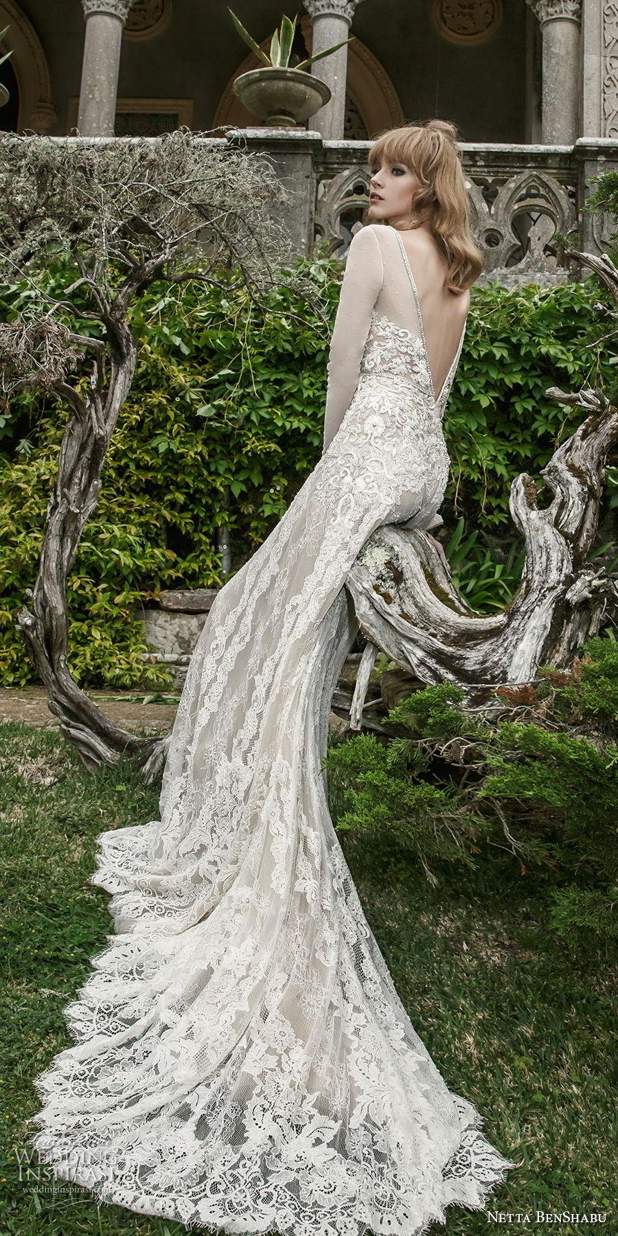 netta benshabu 2017 bridal long sleeves v neck full embellishment elegant soft a  line wedding dress open v back medium train (13) bv