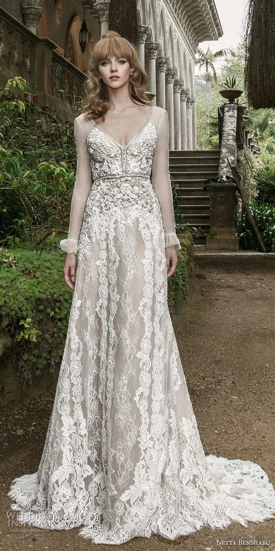 netta benshabu 2017 bridal long sleeves v neck full embellishment elegant soft a  line wedding dress open v back medium train (13) mv