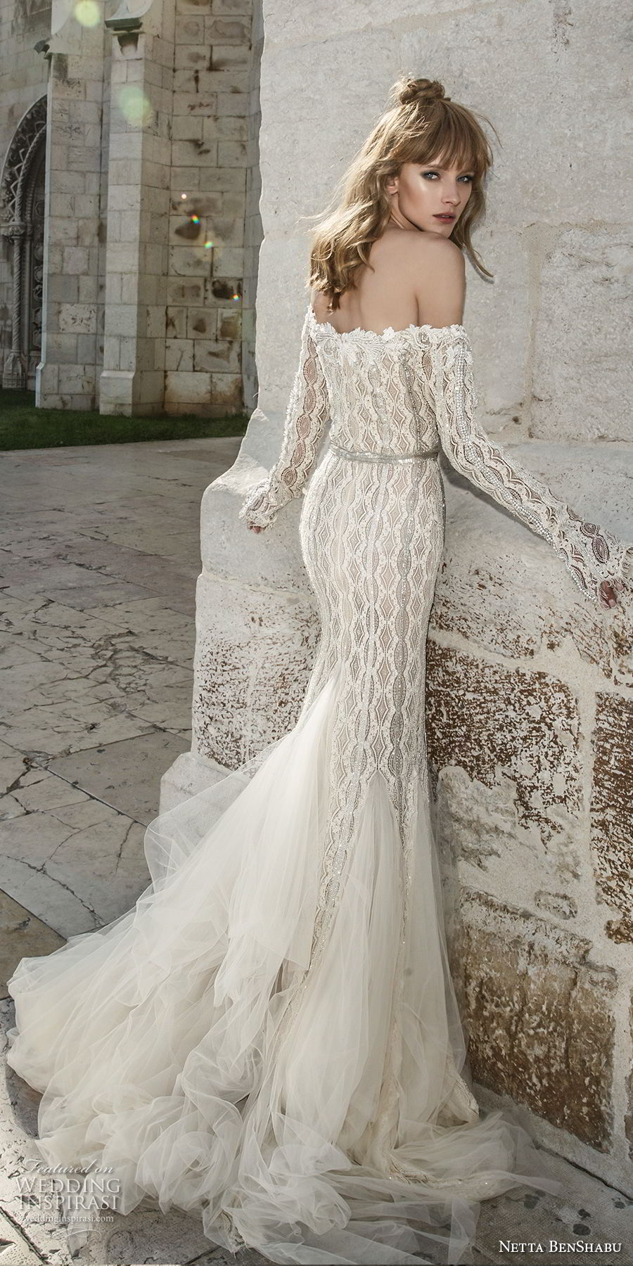 netta benshabu 2017 bridal off the shoulder long sleeves sweetheart neckline full embellishment elegant mermaid wedding dress sweep train (21) bv