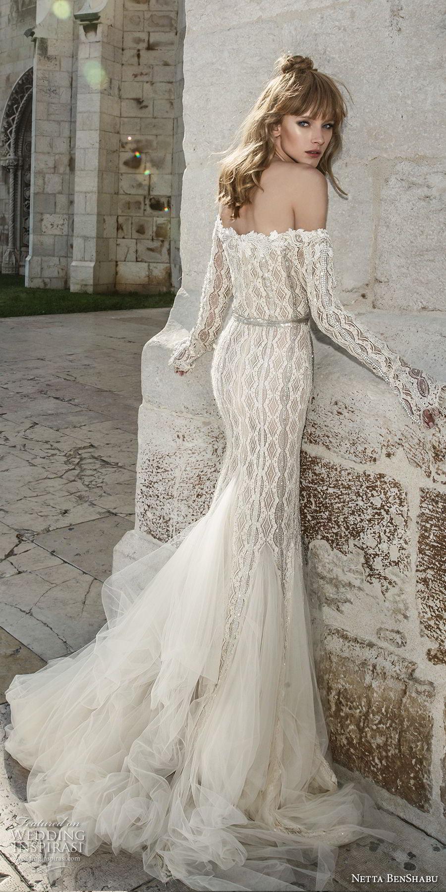 netta benshabu 2017 bridal off the shoulder long sleeves sweetheart neckline full embellishment elegant mermaid wedding dress sweep train (21) bv