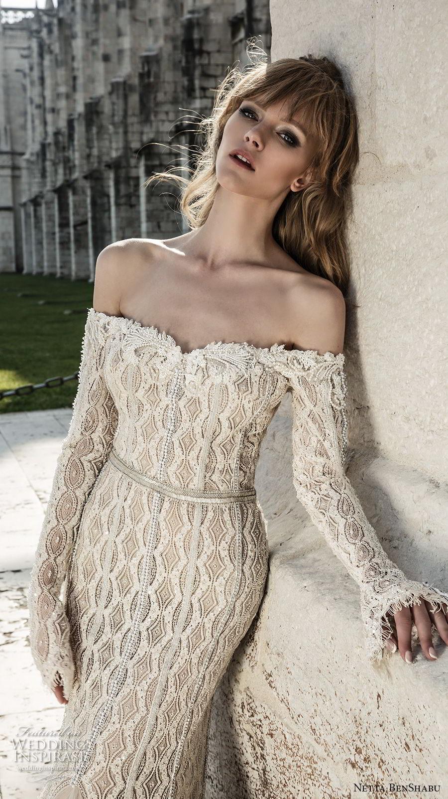 netta benshabu 2017 bridal off the shoulder long sleeves sweetheart neckline full embellishment elegant mermaid wedding dress sweep train (21) zv