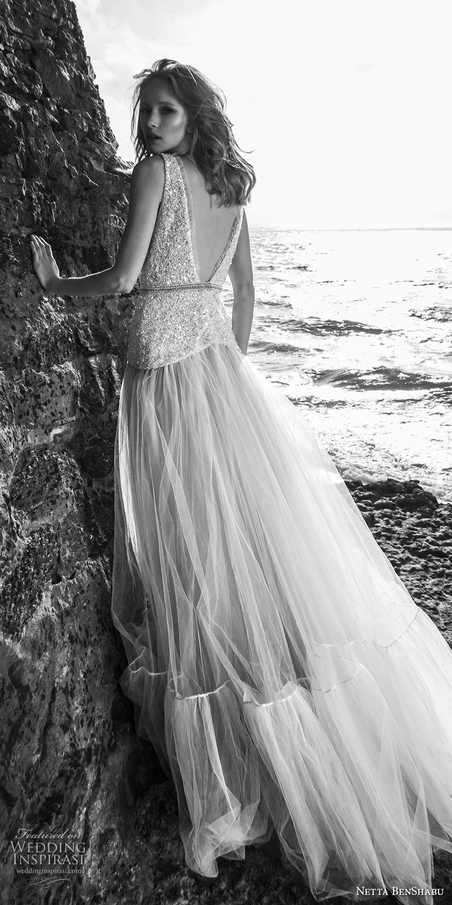 netta benshabu 2017 bridal sleeveless deep v neck heavily embellished beaded bodice drop waist romantic blush color a  line wedding dress open v back chapel train (16) bv