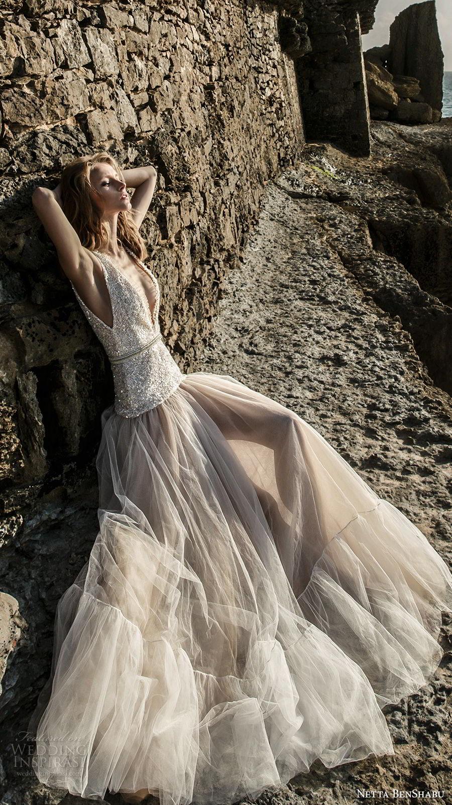 netta benshabu 2017 bridal sleeveless deep v neck heavily embellished beaded bodice drop waist romantic blush color a  line wedding dress open v back chapel train (16) sdv