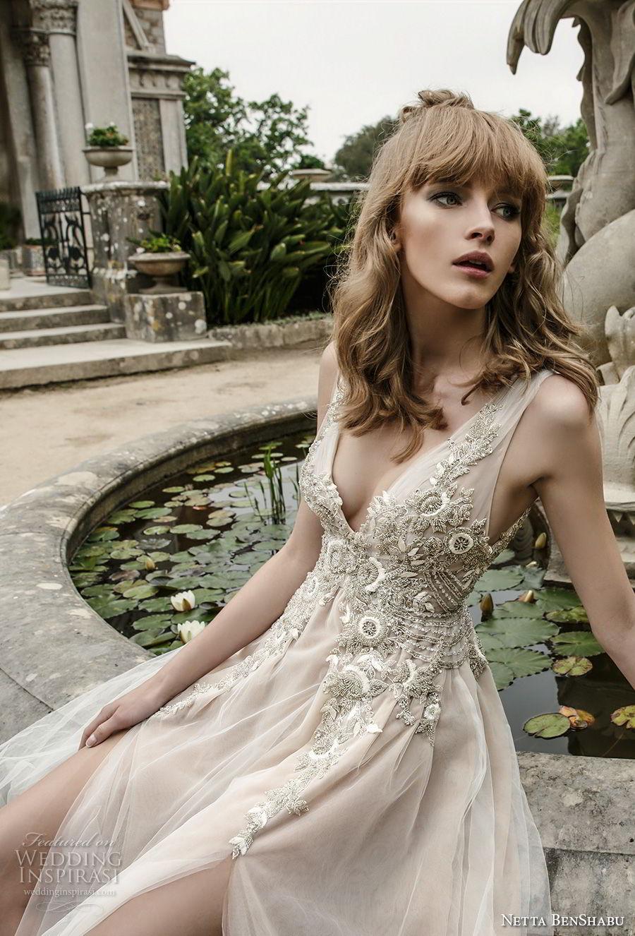 netta benshabu 2017 bridal sleeveless deep v neck heavily embellished bodice high slit skirt romantic sexy soft a  line wedding dress open v back chapel train (4) zv