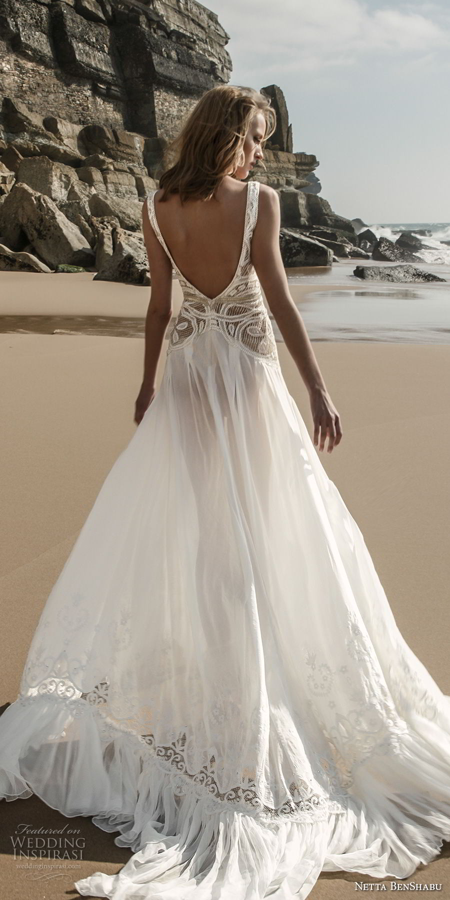 netta benshabu 2017 bridal sleeveless deep v neck heavily embellished bodice high slit skirt sexy romantic soft a line wedding dress open scoop back chapel train (6) bv