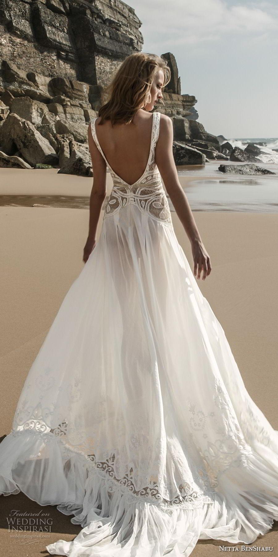 netta benshabu 2017 bridal sleeveless deep v neck heavily embellished bodice high slit skirt sexy romantic soft a  line wedding dress open scoop back chapel train (6) bv
