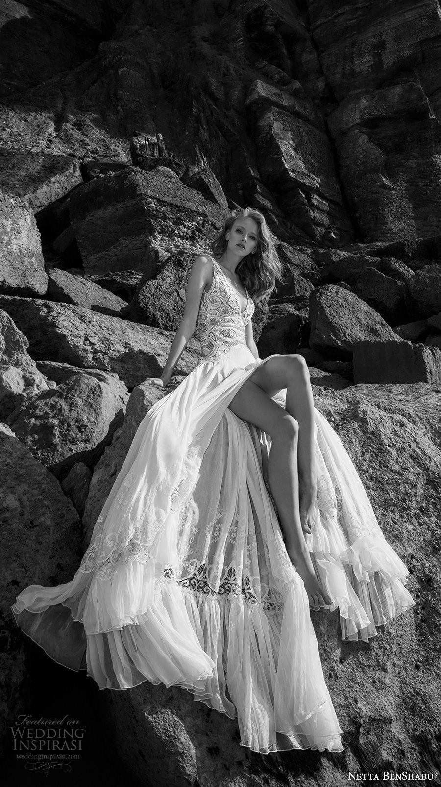netta benshabu 2017 bridal sleeveless deep v neck heavily embellished bodice high slit skirt sexy romantic soft a  line wedding dress open scoop back chapel train (6) mv