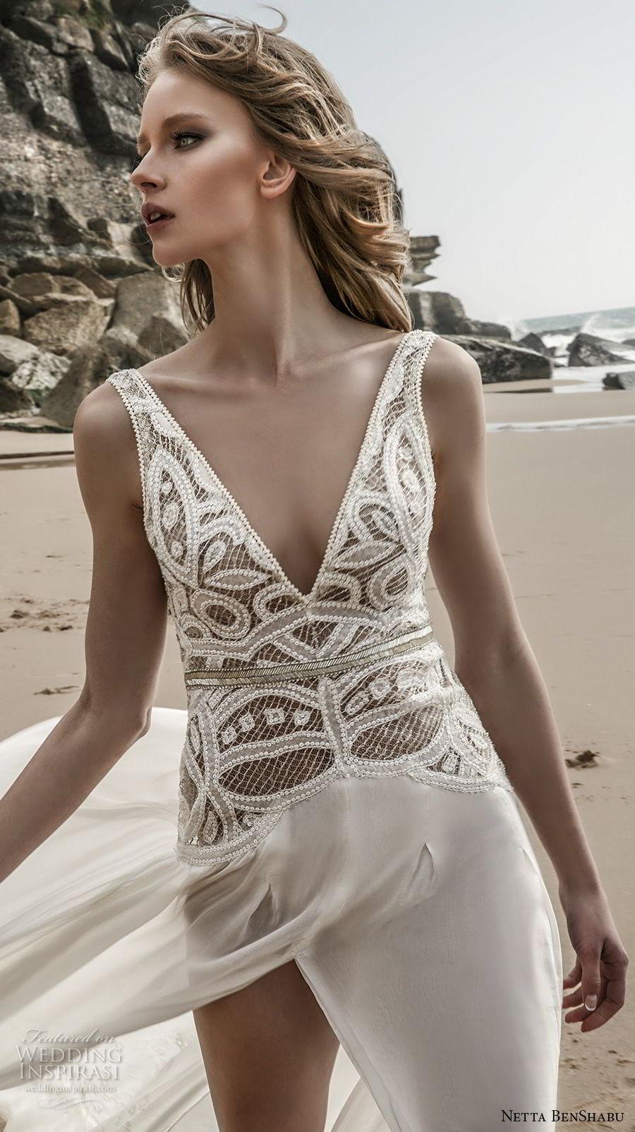 netta benshabu 2017 bridal sleeveless deep v neck heavily embellished bodice high slit skirt sexy romantic soft a  line wedding dress open scoop back chapel train (6) zv