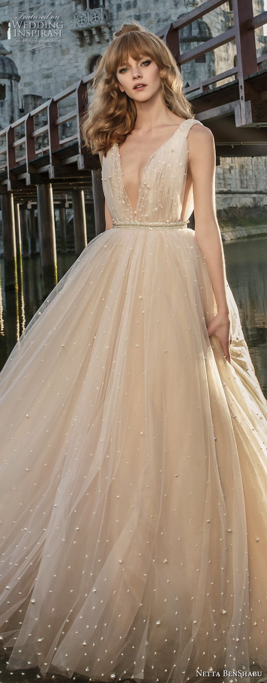 netta benshabu 2017 bridal sleeveless deep v neck light embellishment blush color romantic a  line wedding dress open v back sweep train (24) lv