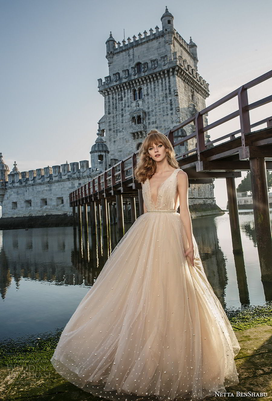 netta benshabu 2017 bridal sleeveless deep v neck light embellishment blush color romantic a  line wedding dress open v back sweep train (24) mv