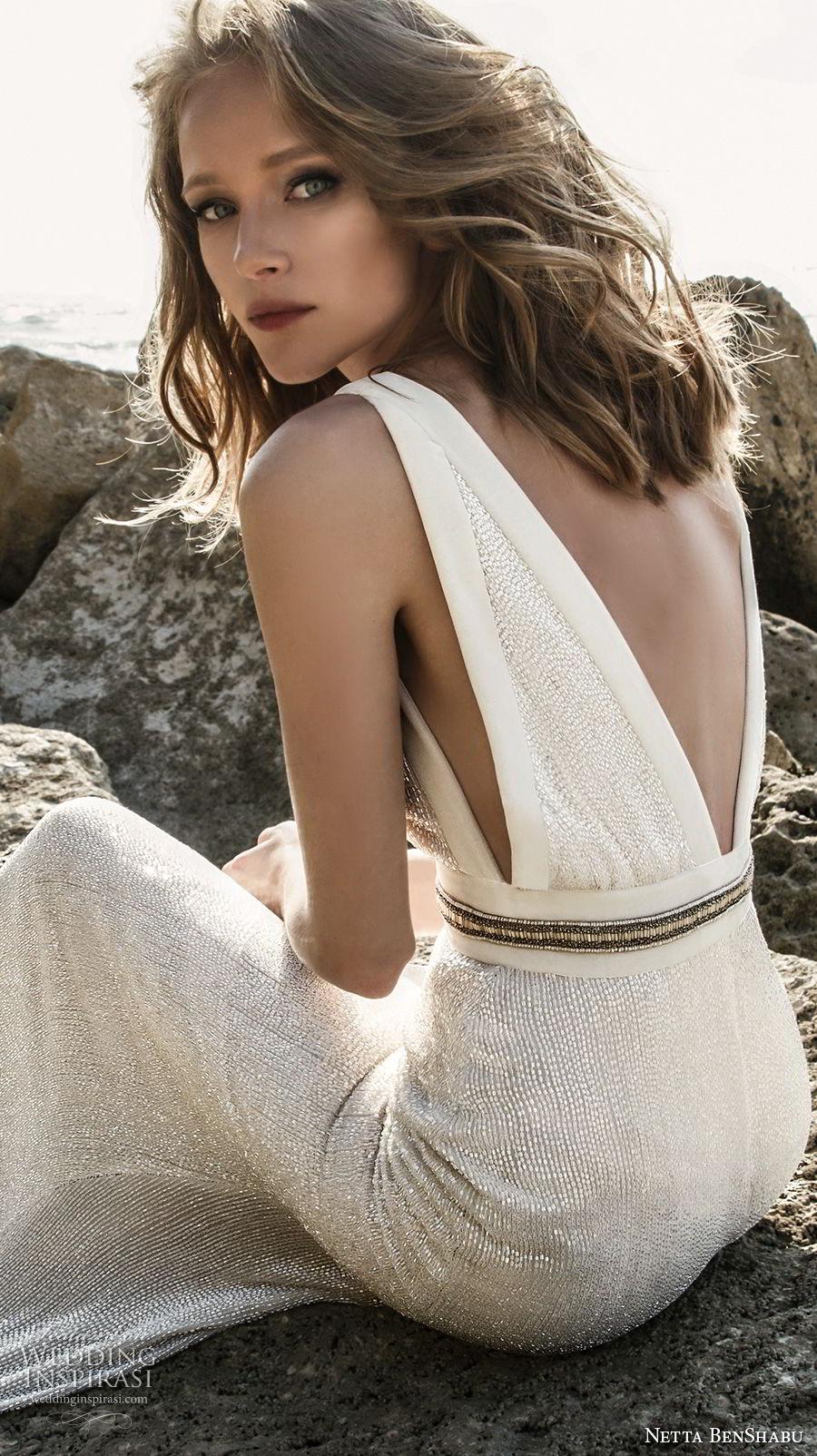 netta benshabu 2017 bridal sleeveless deep v neck light embellishment elegant sheath wedding dress open v back (25)  bv