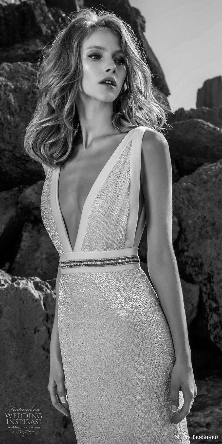netta benshabu 2017 bridal sleeveless deep v neck light embellishment elegant sheath wedding dress open v back (25) zv mv