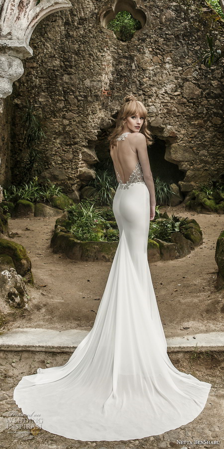 netta benshabu 2017 bridal sleeveless halter neck heavily embellished beaded bodice elegant glamorous sheath wedding dress keyhole open back chapel train (15) bv
