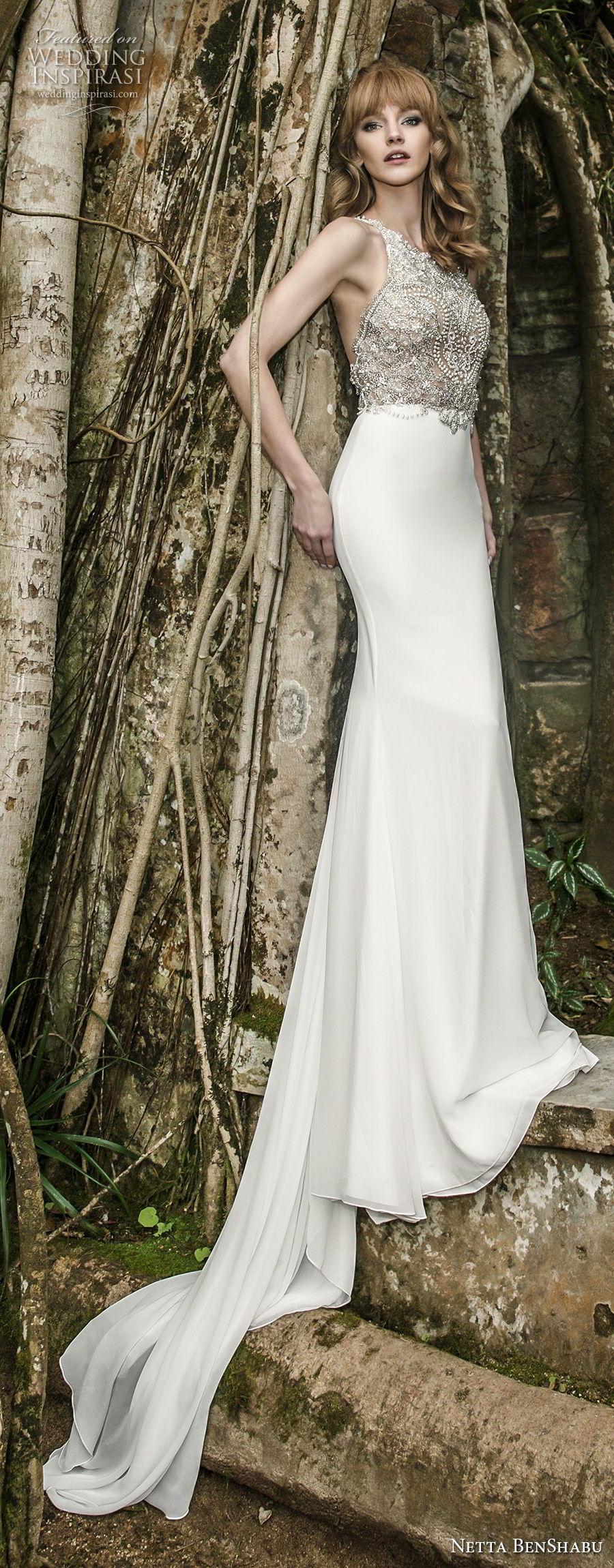 netta benshabu 2017 bridal sleeveless halter neck heavily embellished beaded bodice elegant glamorous sheath wedding dress keyhole open back chapel train (15) mv
