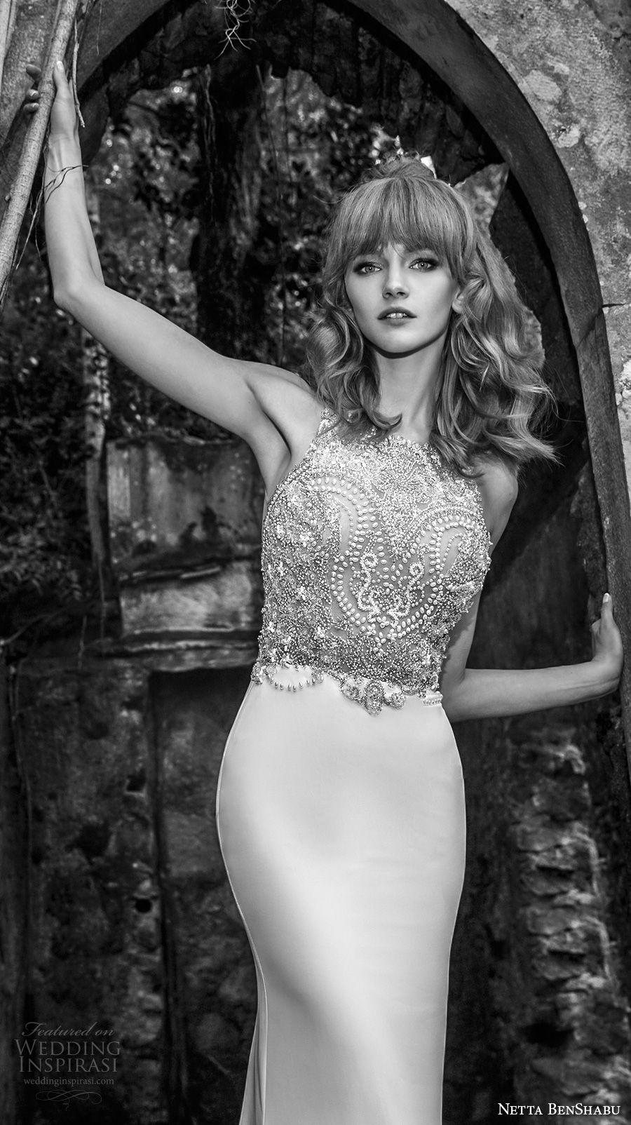 netta benshabu 2017 bridal sleeveless halter neck heavily embellished beaded bodice elegant glamorous sheath wedding dress keyhole open back chapel train (15) zv
