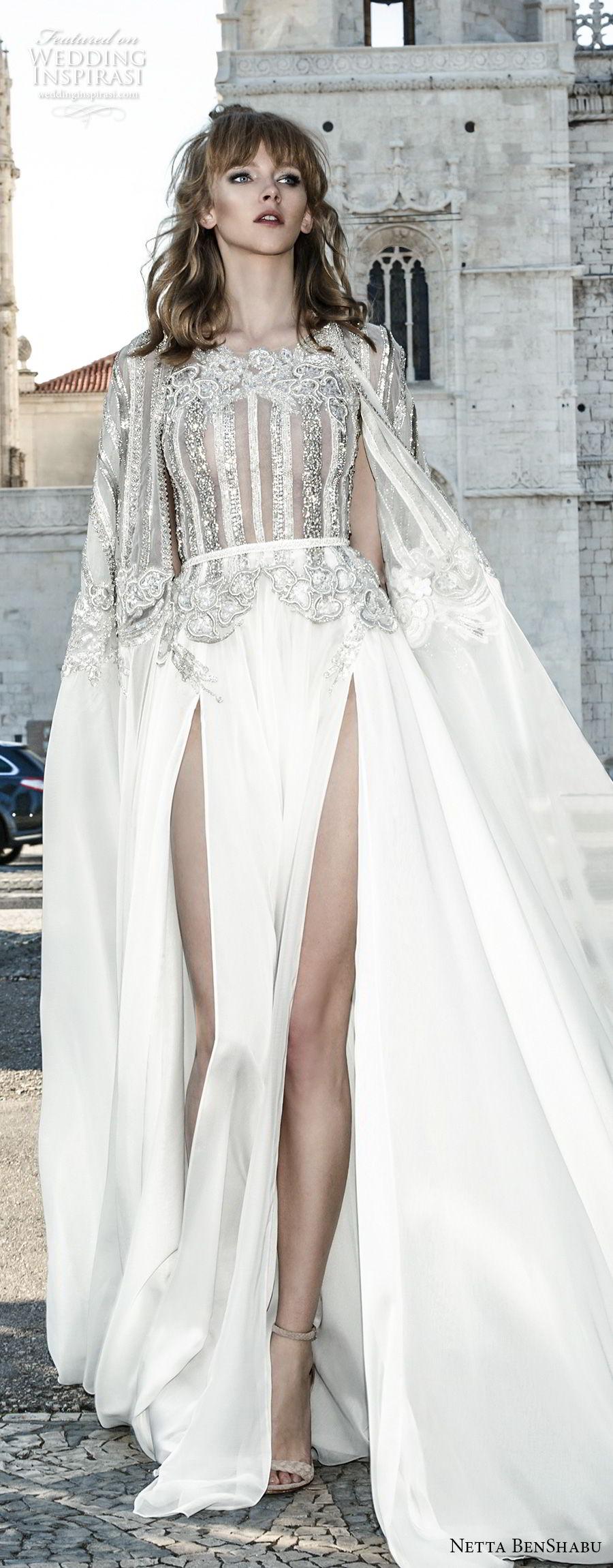 netta benshabu 2017 bridal sleeveless halter neck heavily embellished bodice high slit skirt soft a  line wedding dress covered embsllised back chapel train (1) lv
