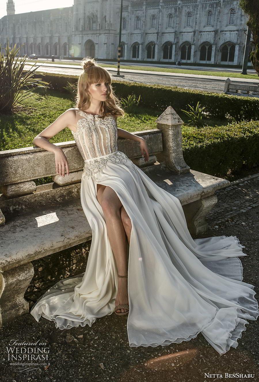 netta benshabu 2017 bridal sleeveless halter neck heavily embellished bodice high slit skirt soft a  line wedding dress covered embsllised back chapel train (1) mv