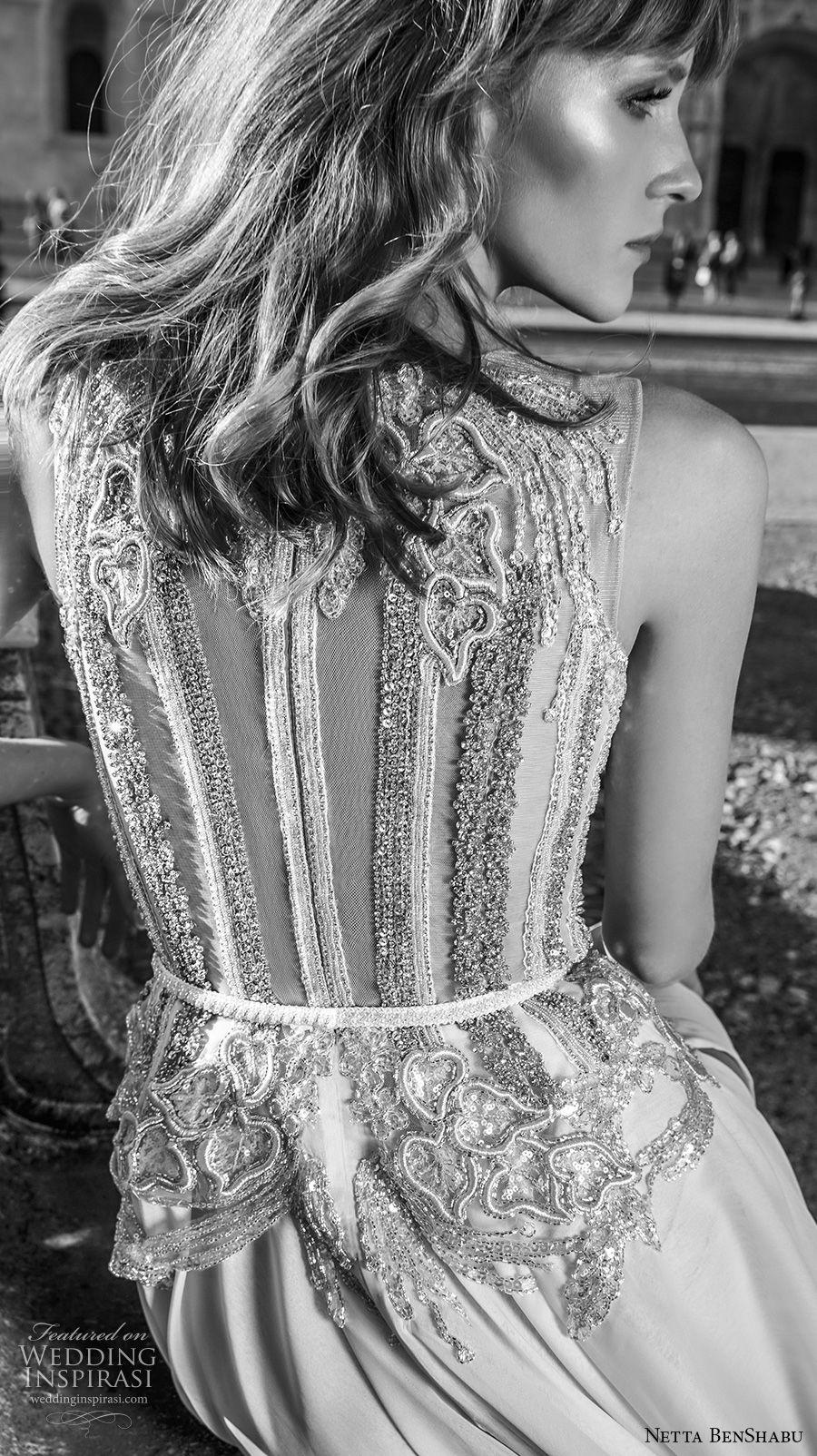 netta benshabu 2017 bridal sleeveless halter neck heavily embellished bodice high slit skirt soft a  line wedding dress covered embsllised back chapel train (1) zbv