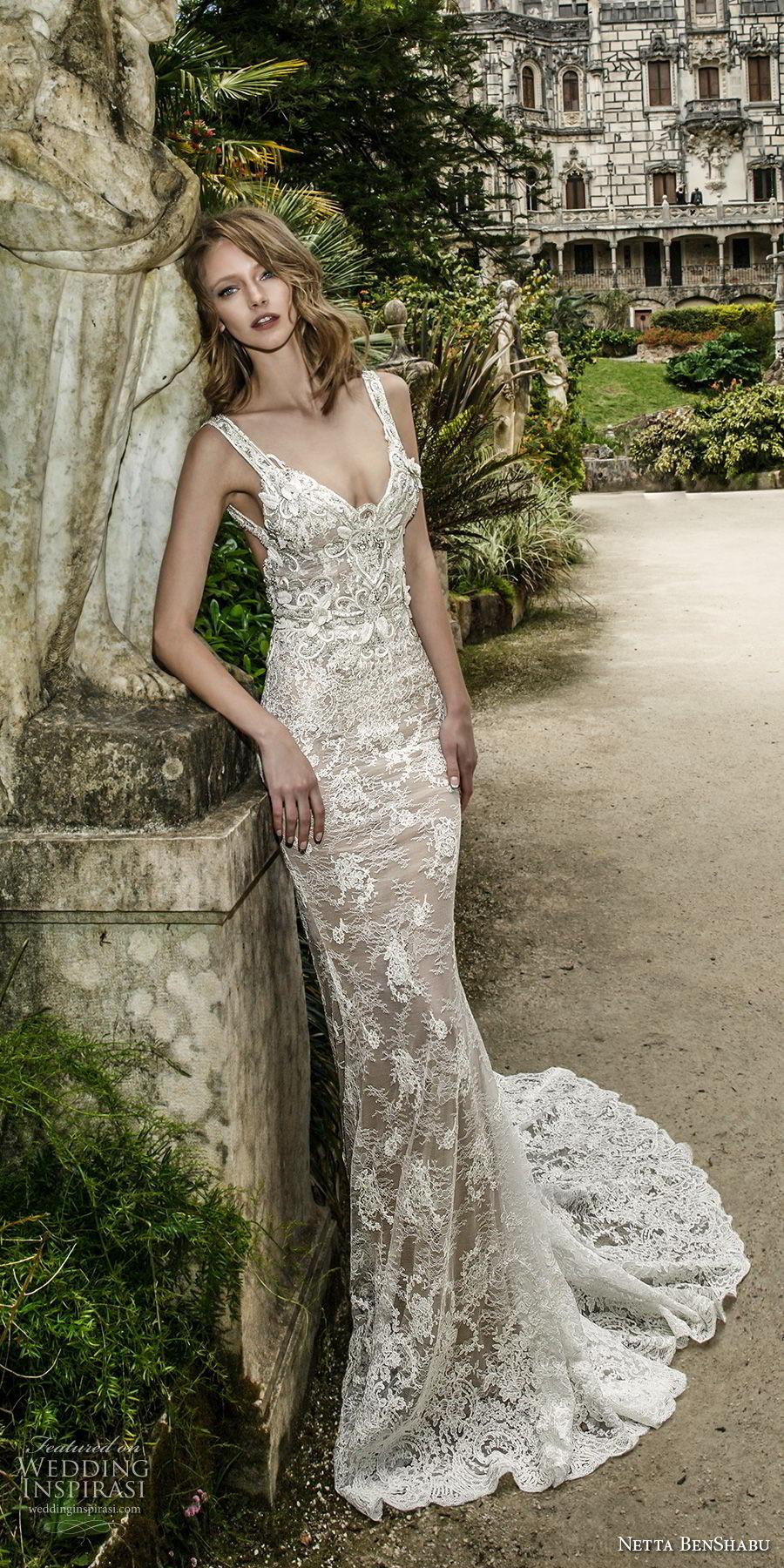netta benshabu 2017 bridal sleeveless sweetheart neckline with strap full embellishment elegant fit and flare wedding dress open back medium train (17) mv