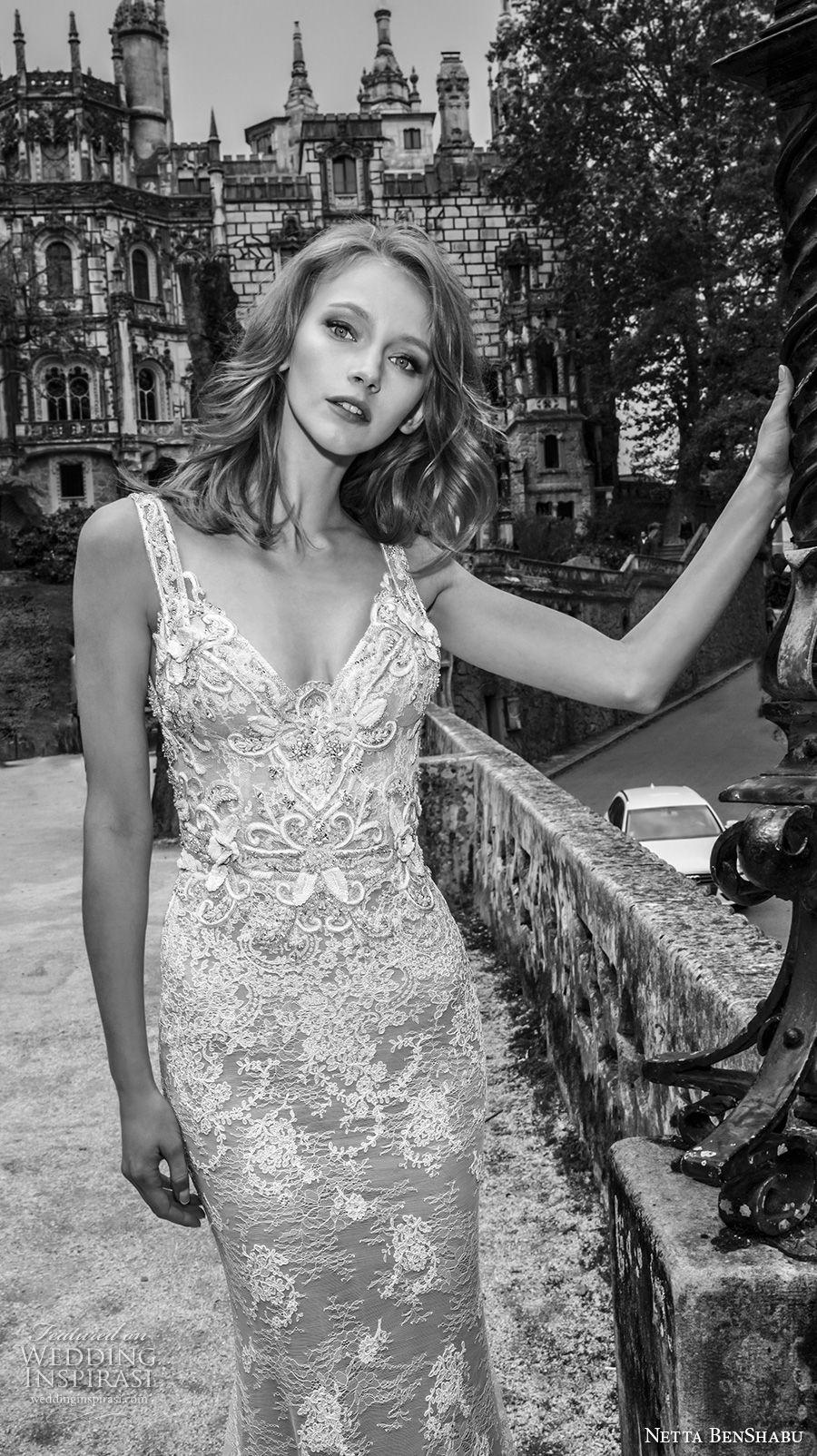 netta benshabu 2017 bridal sleeveless sweetheart neckline with strap full embellishment elegant fit and flare wedding dress open back medium train (17) zv